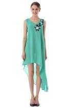 Нерегулярное длинное шифоновое платье без рукавов