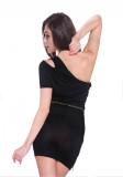 Bir omuz dantelli mini kulüp elbise