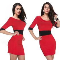 Mini-Club-Kleid in Blockfarbe mit 1 / 2-Ärmeln