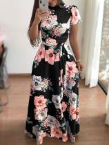 Vestido longo floral de manga curta com cinto