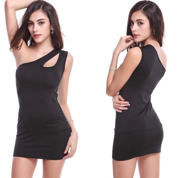 Bir omuz mini kulüp elbise