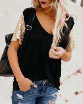 Camisa casual con cuello en V y lentejuelas mangas cortas
