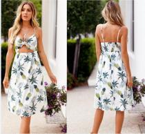 Print Riemen Langes Resort Kleid