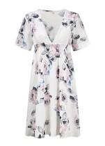 Imprimir flor vestido de cintura alta Casual