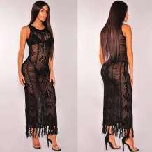 ブラックホローアウトロングビーチドレス