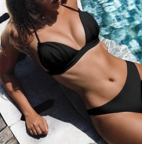 Solid Color Two-Piece Padded Swimwear