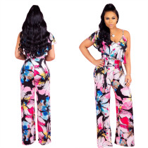 Print Flower Casual Jumpsuit mit unregelmäßiger Schulter