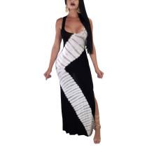 Vestido largo con estampado halter y lado abierto