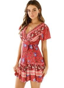 Vestido cruzado de flores de manga corta