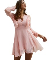 Robe patineuse à manches longues rose