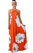 Vestido maxi halter floral estampado