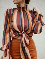 Mehrfarbige Streifen Langarmbluse