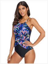Print Black Straps One-Piece Swimsuit