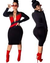 Jurk in rode en zwarte printbodycon