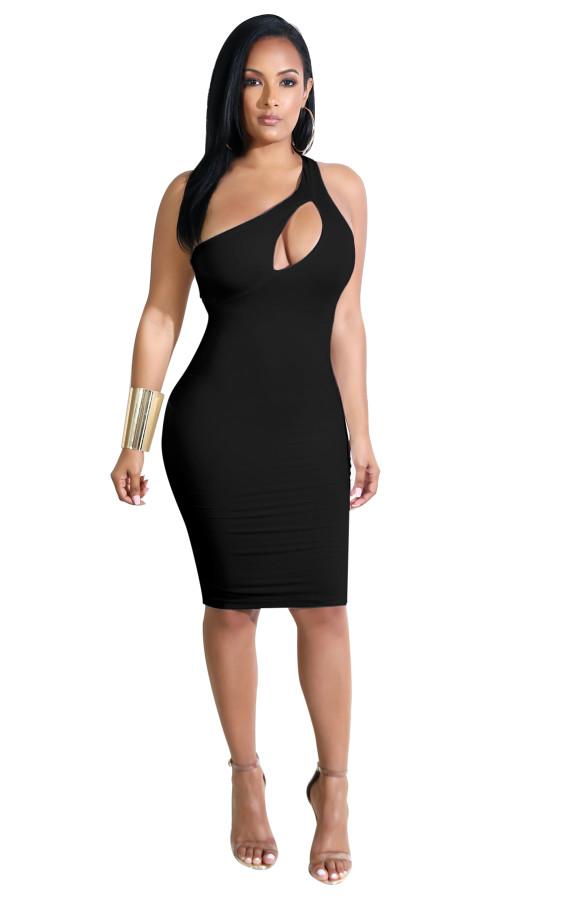 Eine Schulter Bodycon Kleid ausgeschnitten