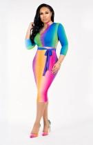 Multi-color Bodycon-jurk met 3 / 4-sleeves