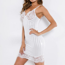 Lace Detailed Stripes Sleeping Dress