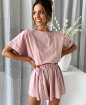 Casual Sheer Short Sleeve Rompers with Belt