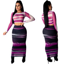 Crop top sexy multicolore et jupe longue