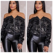 Black Off Shoulder Sequins Jacket