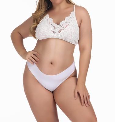Plus Size White Lace Bra and Panty Set