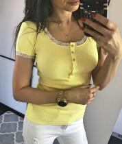 T-shirt basique à col rond avec manches en dentelle