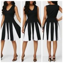 Vestido Vintage sin mangas blanco y negro