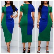 Блестящее цветное платье с короткими рукавами
