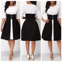 Vestido vintage blanco y negro con medias mangas