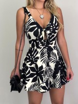 Print Sleevess Wide Legges Straps Rompers