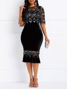 Vestido de festa sereia preto e prateado lantejoulas