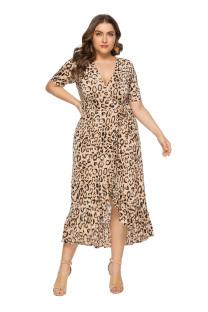 Vestido Maxi Plus Size em V-Neck com Cinto