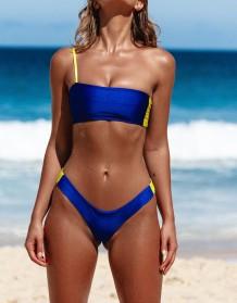 Bloco de cor de um ombro Swimwear
