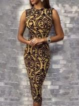 Винтажное платье без рукавов с принтом
