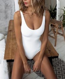 Swimwear simples de uma peça só branca