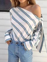 Düzensiz Omuzlu Uzun Kollu Çizgili Gömlek