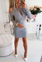 Açık Omuz Dantelli Detaylı Uzun Kollu Mini Elbise