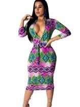 Bodycon-Kleid mit Schlangenmuster und Gürtel
