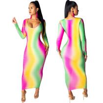 Multi-gekleurde schede jurk met lange mouwen