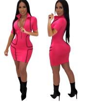 Kurzärmeliges, figurbetontes Kleid