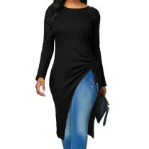 Siyah Uzun Kollu Düzensiz Uzun Gömlek