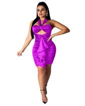 Sexy Lila Detaillierte Halter Club Kleid