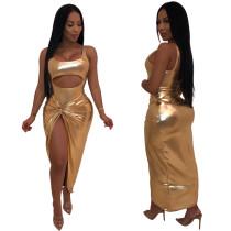 Sexy hooggesneden onregelmatige metallic jurk