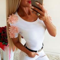 White Flower Short Sleeve Shirt