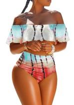 Duas peças fora do ombro cintura alta Imprimir Swimwear