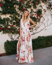 Robe longue sans manches à fleurs imprimées