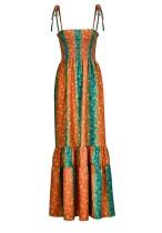 Robe longue taille haute à bretelles