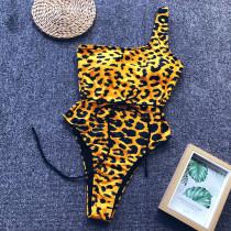 Un hombro leopardo sexy traje de baño