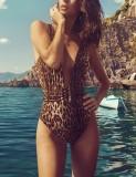 Costumi da bagno di leopardo Deep-V di un pezzo