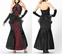 Vintage rode en zwarte koningin zeemeermin jurk